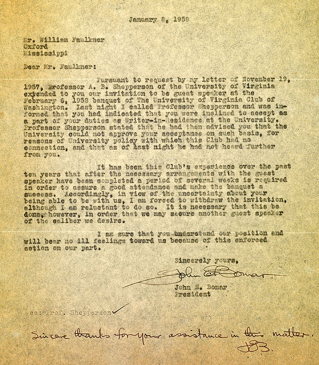 Faulkner at virginia introduction and contexts faulkner papers letter stopboris Images