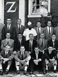 DETAIL: PHOTO OF DELTA KAPPA EPSILON IN 1957 YEARBOOK
